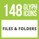148 Files & Folders Glyph Inverted Icons - GraphicRiver Item for Sale