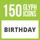 150 Birthday Glyph Inverted Icons - GraphicRiver Item for Sale