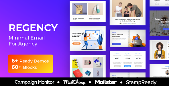 Regency - Agency Multiprupose Responsive Email Template + Stampready Builder + Mailster & Mailchimp - Newsletters Email Templates