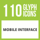 Free Download 110 Mobile Interface Glyph Inverted Icons Nulled