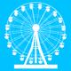 Silhouette atraktsion colorful ferris wheel on blue background illustration - PhotoDune Item for Sale