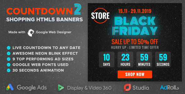 Countdown 2 - Sale Event Promotion HTML5 Banners with Live Countdown (GWD)            Nulled