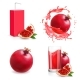 Pomegranate Juice Isolated Icons - GraphicRiver Item for Sale