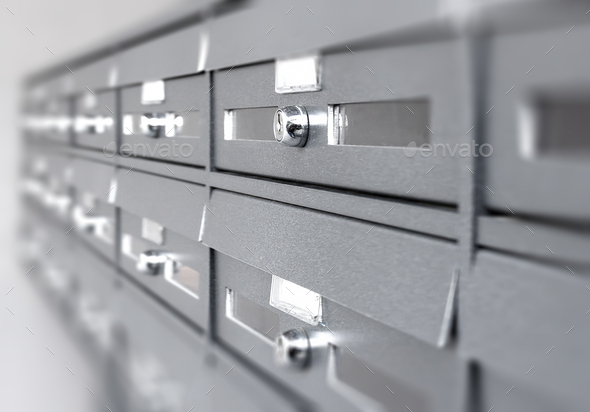 Aluminum mail boxes - Stock Photo - Images