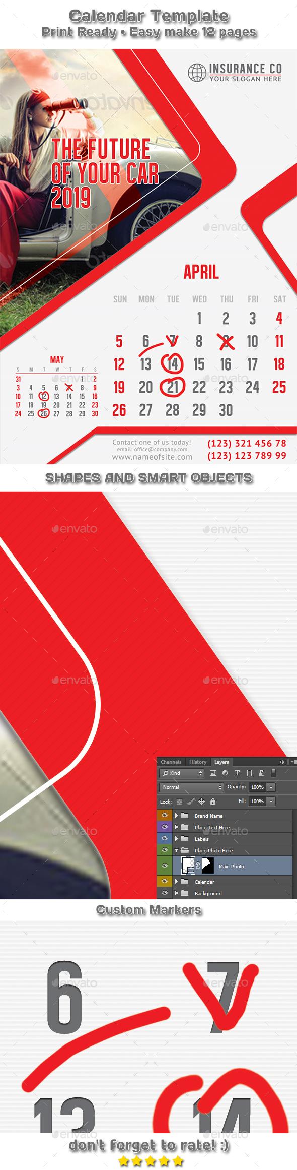 Auto Insurance Calendar 2019 Template - Calendars Stationery