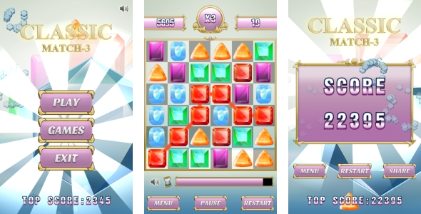 Classic Match3 - HTML5 Game + Mobile version + AdMob (Construct 3 | Construct 2 | Capx) - CodeCanyon Item for Sale
