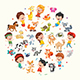 Vector Collection of Kids and Animals Illustration - GraphicRiver Item for Sale
