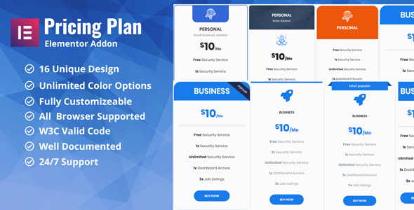 Pricing Plan / Pricing Table Elementor Addon Plugin - CodeCanyon Item for Sale
