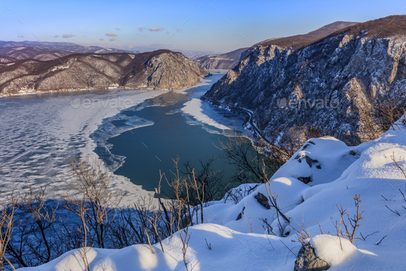 Danube Gorges in winter, Romania - Stock Photo - Images