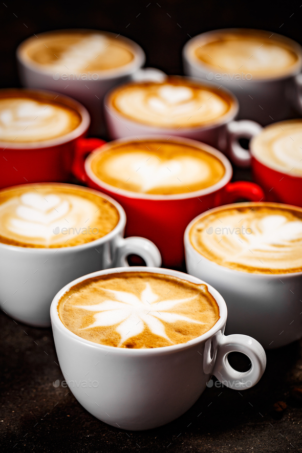 Latte art in different shapes - Stock Photo - Images