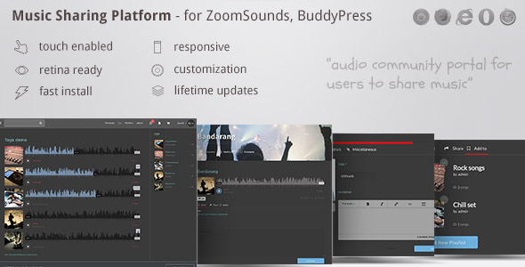 Music Sharing Platform - for Wordpress / ZoomSounds Addon, BuddyPress integrated            Nulled
