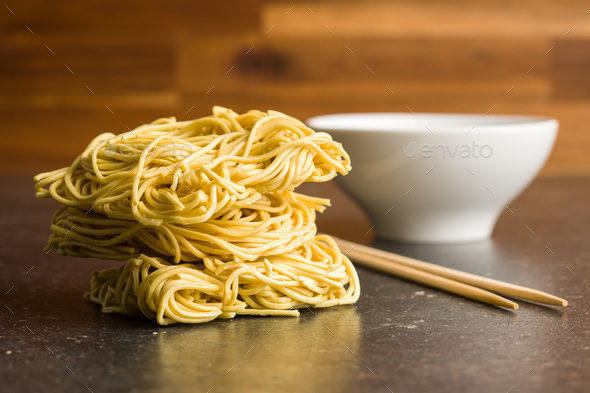 Uncooked instant chinese noodles. - Stock Photo - Images