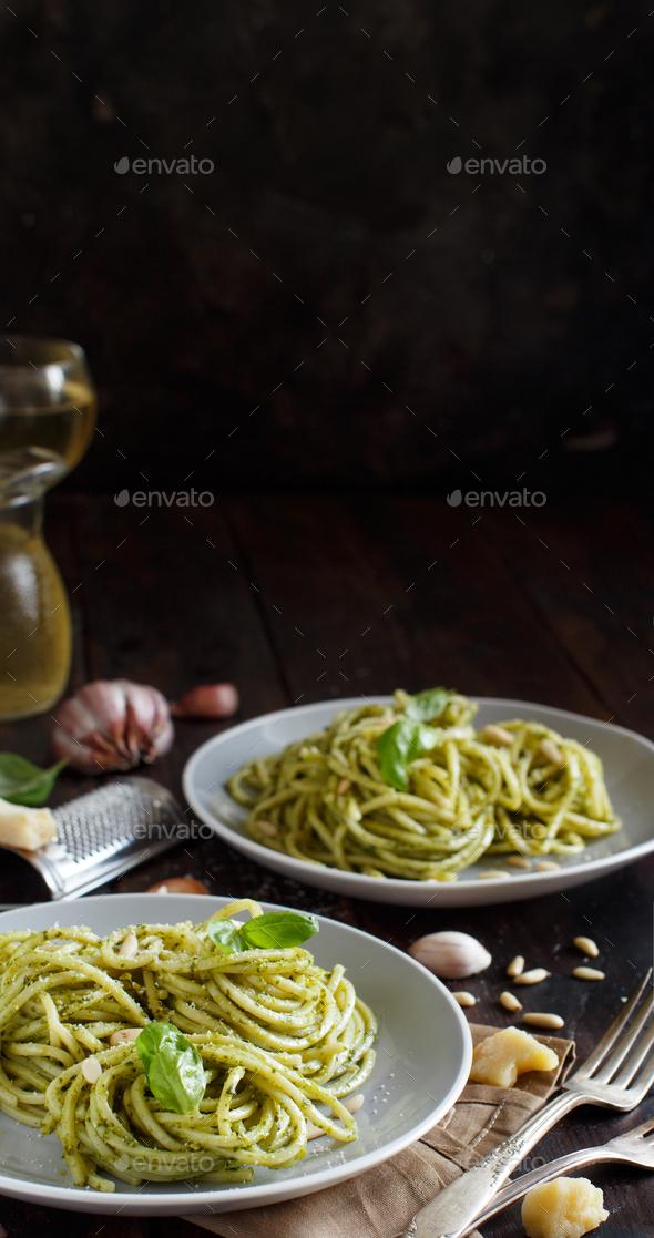 Spaghetti pasta with pesto sauce - Stock Photo - Images