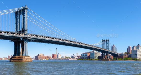 Panoramic view of the Manhattan Bridge, NYC. - Stock Photo - Images
