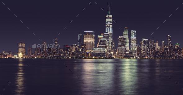 New York City panorama at night, USA. - Stock Photo - Images