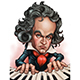 Free Download Caricature of Composer Ludwig van Beethoven Playing the Piano Illustration Nulled