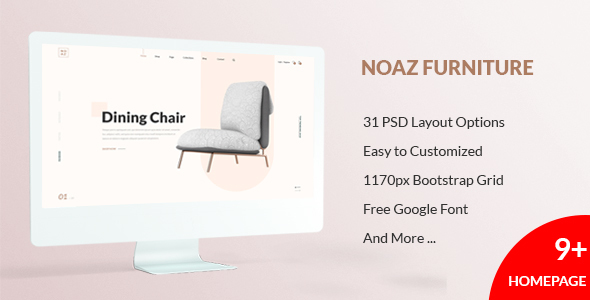 NOAZ – Furniture Ecommerce PSD Template - PSD Templates