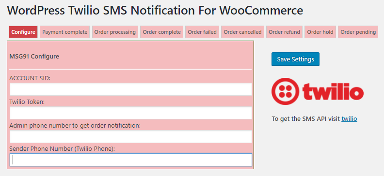 Twilio WooCommerce Order SMS Notification and International Billing Phone on Checkout - 2
