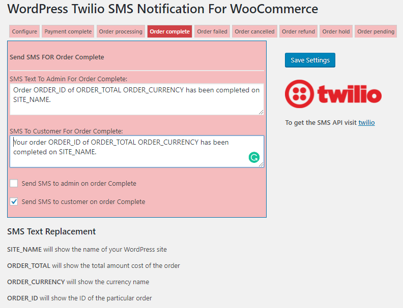 Twilio WooCommerce Order SMS Notification and International Billing Phone on Checkout - 3