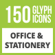 Free Download 150 Office & Stationery Glyph Inverted Icons Nulled