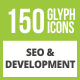 150 SEO & Development Glyph Inverted Icons - GraphicRiver Item for Sale