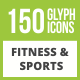 150 Fitness & Sports Glyph Inverted Icons - GraphicRiver Item for Sale