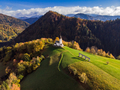 Aerial view of rural church or chapel in Slovenia at autumn - PhotoDune Item for Sale