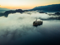 Bled castle on lake in foggy autumn morning,SLovenia - PhotoDune Item for Sale