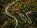 Winding road in mountains, fall woodlands, drone view from above - PhotoDune Item for Sale