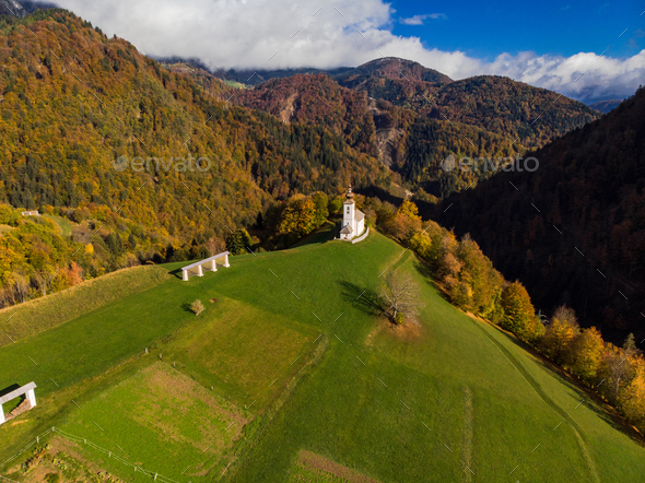 Sv. Marko chapel in Lower Danje, Slovenia , aerial drone view - Stock Photo - Images