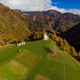 Sv. Marko chapel in Lower Danje, Slovenia , aerial drone view - PhotoDune Item for Sale