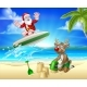 Christmas Santa Claus and Reindeer Beach Scene - GraphicRiver Item for Sale