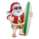 Cool Santa With Surfboard and Sunglasses Cartoon - GraphicRiver Item for Sale