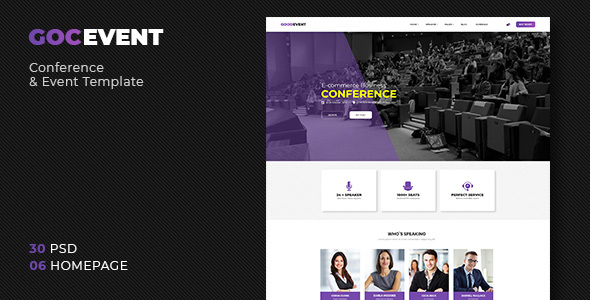 GocEvent - Event and Conference PSD Template - Events Entertainment