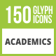 Free Download 150 Academics Glyph Inverted Icons Nulled