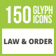 Free Download 150 Law & Order Glyph Inverted Icons Nulled