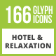 166 Hotel & Relaxation Glyph Inverted Icons - GraphicRiver Item for Sale