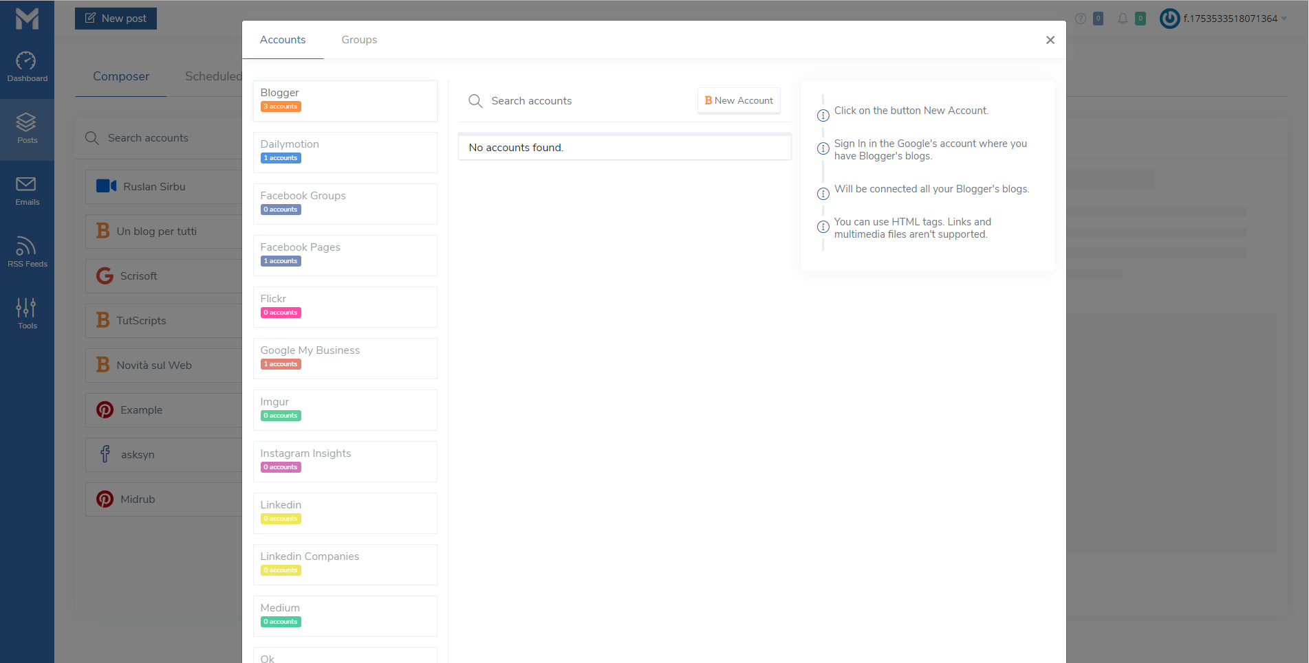 Midrub - schedule and publish on the most popular social networks