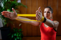 Woman Exercising With Elastic Band - PhotoDune Item for Sale