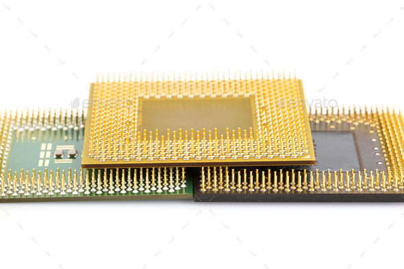 Central processing unit or Computer chip - Stock Photo - Images