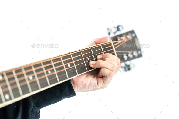 Hands playing guitar on white - Stock Photo - Images