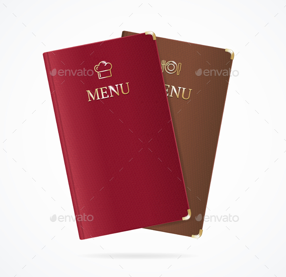 Realistic Detailed Red and Brown Menu Restaurant Set - Man-made Objects Objects