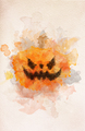 Halloween scary pumpkin in watercolor painting. - PhotoDune Item for Sale