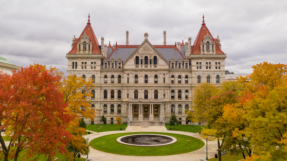 Fall Season New York Statehouse Capitol Building in Albany - Stock Photo - Images