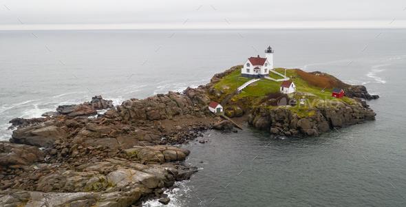 Cape Neddick Lighthouse Nubble Island Rock in York Maine - Stock Photo - Images