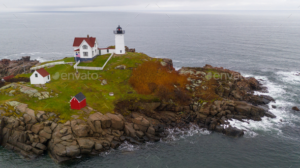 Cape Neddick Lighthouse Nubble Island Rock in York Maine - Stock Photo - Images
