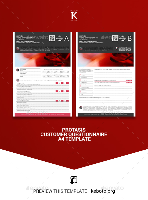 Protasis Customer Questionnaire A4 Template - Miscellaneous Print Templates