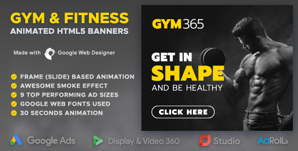 Gym365 - GYM & Fitness Animated HTML5 Banners (GWD)            Nulled