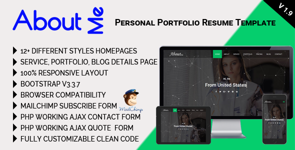 AboutMe - Personal Portfolio Resume Template - Personal Site Templates