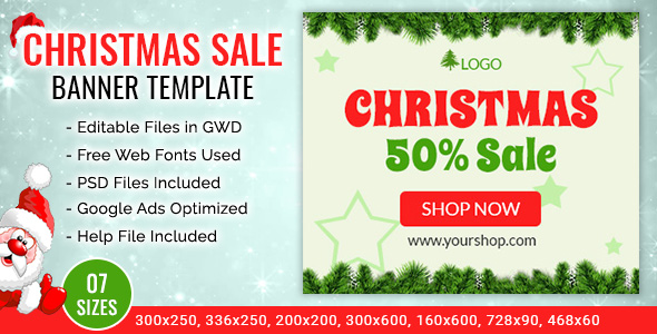 GWD | Christmas Sale Shopping Ad Banner Templates - 7 Sizes - CodeCanyon Item for Sale